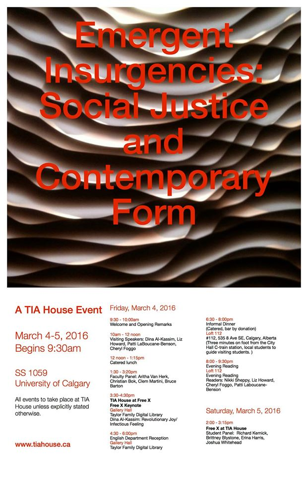 emergent insurgencies: social justice and contemporary form event poster