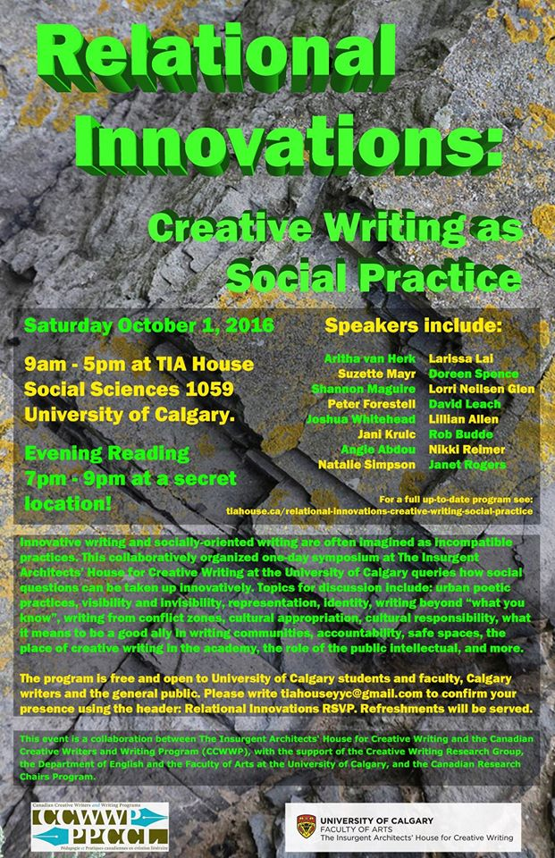 Relational Innovations: Creative Writing event poster as Social Practice
